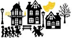 12 delige raamstickerset Carnaval silhouet huisjes herbruikbaar | Rosami