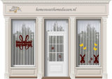 Raamsticker set herbruikbaar Vrolijk pasen met vlinders, konijnen & eieren bruin/geel   Rosami
