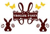 Raamsticker set herbruikbaar Vrolijk pasen met vlinders, konijnen & eieren bruin/geel   Rosami_