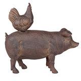 Decoratie varken/kip 21*7*20 cm Bruin | 6PR2162 | Clayre & Eef_