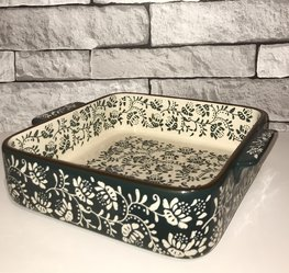 Ovenschaal 20 x 20 cm vierkant groen | Lavandoux