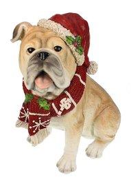 Mopshond beeld met kerstmuts 19x30x32 cm   Meander