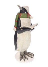 Pinguin met boek groene sjaal 10x11x25cm   Meander
