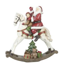 Kerstman op hobbelpaard 29*10*30 cm Rood | XXP0150 | Clayre & Eef