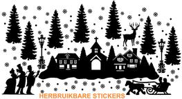 Voordeelset 93 delig Raamsticker herbruikbaar winter / kersttafereel | Rosami