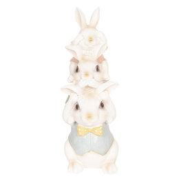 Decoratie konijnen 10*9*25 cm Multi   6PR2605   Clayre & Eef