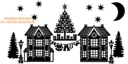 15 delige Raamsticker set herbruikbaar huisjes - kerstboom - lantaarnpaal  - waslijn Kerstman | Rosami Decoratiestickers