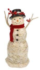 Sneeuwpop met een rode sjaal l Ø15xH30cm   Meander