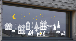 Raamsticker set herbruikbaar huisjes - kersttafereel | Rosami Decoratiestickers