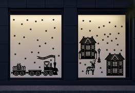 107 delige raamsticker set herbruikbaar huisjes - locomotief - rendier | Rosami Decoratiestickers