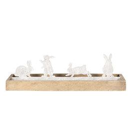 Decoratie konijnen 36*10*10 cm Bruin/grijs   64311   Clayre & Eef
