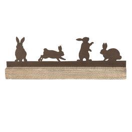 Decoratie konijnen 35*5*12 cm Bruin   64321   Clayre & Eef