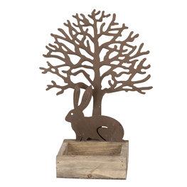 Decoratie konijn en boom 18*10*23 cm Bruin   64323   Clayre & Eef