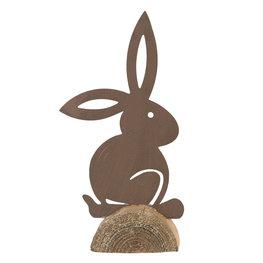 Decoratie konijn 16*4*31 cm Bruin/grijs   64326   Clayre & Eef