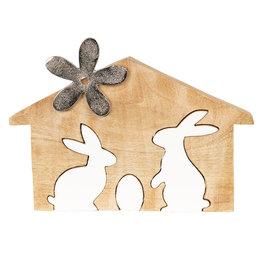 Decoratie konijnen 26*17*2 cm Bruin/wit   6H1765M   Clayre & Eef