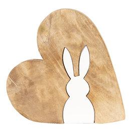 Decoratie hart met konijn 23*22*2 cm Bruin/wit   6H1777M   Clayre & Eef