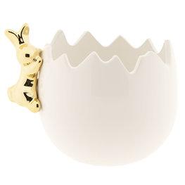 Decoratie vaas konijn met ei 11*10*10 cm Wit   6CE1020   Clayre & Eef