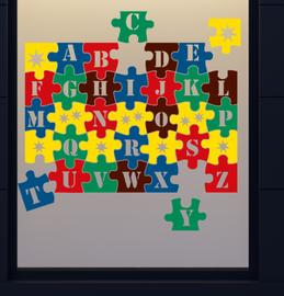 Ik leer het alfabet ABC puzzel herbruikbare raamstickers | Rosami