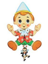 Muur klok Pinokkio met Japie krekel hout   Bartolucci