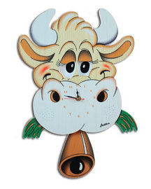 Muurklok koe met bewegende ogen & klepel | Bartolucci