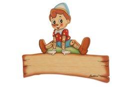 Naambord Pinokkio 26,5 x 22,5 cm | Bartolucci | Hout