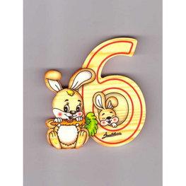Cijfer 6 met konijntjes hout | Bartolucci