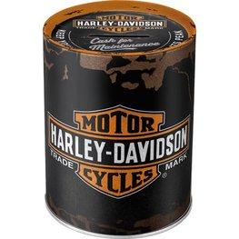 Harley Davidson logo metalen ronde spaarpot | Nostalgic Art