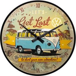 Wandklok VW Volkswagen T1 let's get lost 30 cm | Nostalgic Art