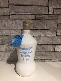 Fles / vaas bedankt voor de leuke tijd blauw
