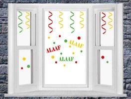 Raamstickerset Carnaval serpentine + confetti & Alaaf   Rosami