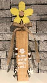 Bloem pilaar hout   Bedankt voor het fleurige jaar !