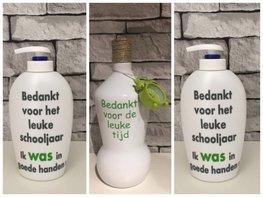 Voordeelset Juf & Meester cadeau | 1 x fles klok groen + 2 x zeeppomp