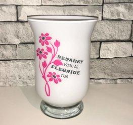 Vaas wit - Bedankt voor de fleurige tijd | juf meester cadeau | Rosami