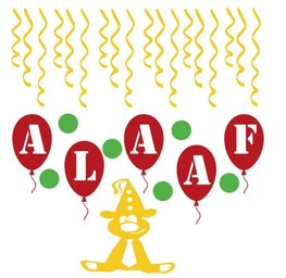 Herbruikbare 30 delige stickerset Feestbeest ballon alaaf & serpentine | Rosami