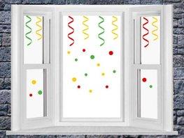 Herbruikbare raamstickerset serpentine & confetti carnaval | Rosami