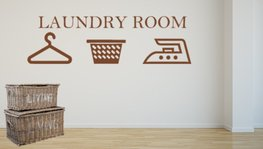 Sticker Laundry room | Wasmand | Strijkijzer | Hanger | Rosami