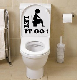 Sticker Let it go man zittend op toilet   Rosami