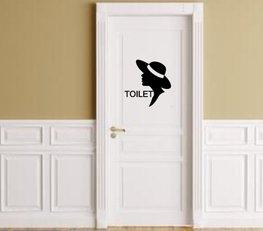Sticker voor toilet dames met silhouette vrouw | Rosami