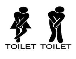 Sticker set voor heren & dames toilet man vrouw hoge nood | Rosami