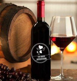 Etiket / Sticker wijn van harte gefeliciteerd hartjes | Rosami