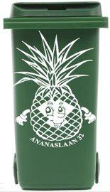 Sticker ananas voor kliko container met straatnaam & huisnr | Rosami