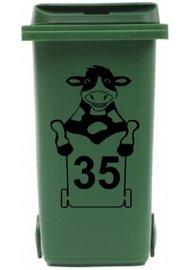 Sticker koe kliko met huisnummer voor afvalcontainer | Rosami