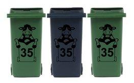 Voordeelset 3 x sticker koe kliko met huisnummer voor afvalcontainer | Rosami