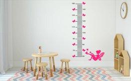Sticker groeimeter fee met vlinders grijs/roze 99,95 x 25 cm | Rosami
