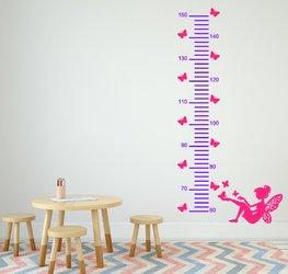 Sticker groeimeter fee met vlinders paars/roze 99,95 x 25 cm | Rosami