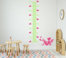Sticker groeimeter fee met vlinders groen/roze 99,5 x 25 cm | Rosami