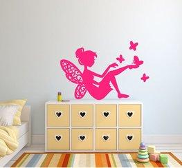 Sticker Fee met vlinders roze 40 x 25 cm | Rosami