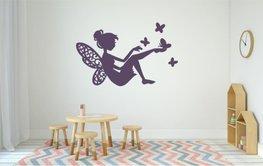Sticker Fee met vlinders paars 40 x 25 cm | Rosami