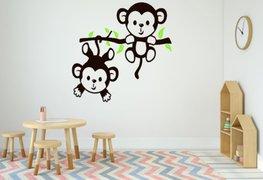Sticker twee aapjes aan een tak bruin/groen 35 x 35 cm | Rosami