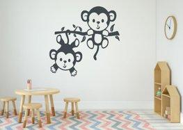 Sticker twee aapjes aan een tak donker grijs 35 x 35 cm | Rosami